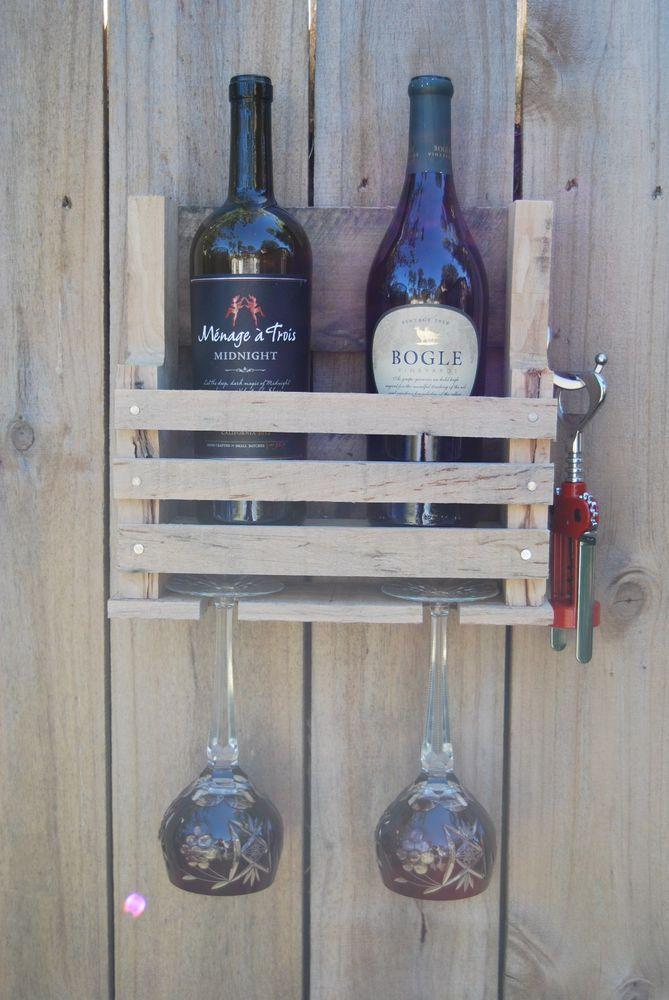 Rustic Handmade 2 Bottle Gl Holder Wood Wine Rack Shelf Reclaimed Pallet
