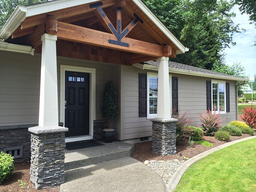 1716 Timber Framed Porch Deckframing Porch Design House With