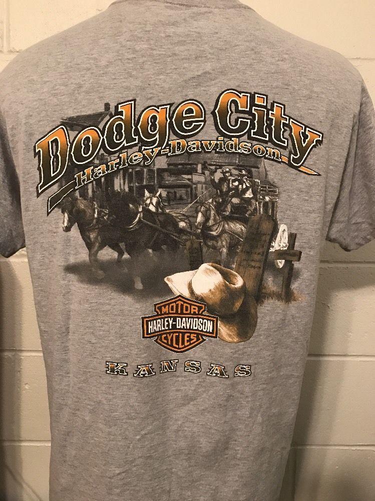 Vintage Harley Davidson Dodge City Kansas Gray T Shirt Size Large
