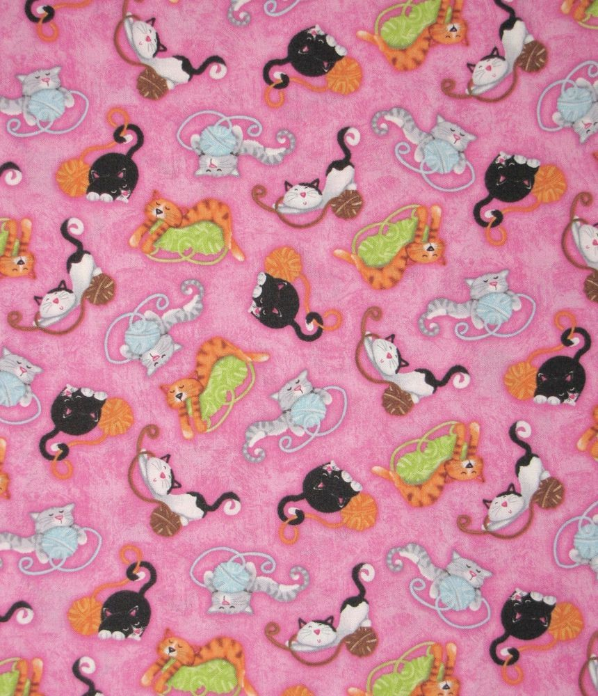 Kozy Kitten Cat Kitty Cat Yarn 100 Cotton Fabric By The Yard Pink Background Fabric Cat Fabric Pink Background