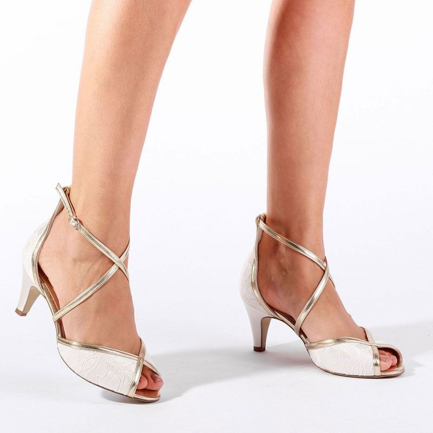 Pink Paradox Babel Ivory Lace Wide Fit Peep Toe Sandals