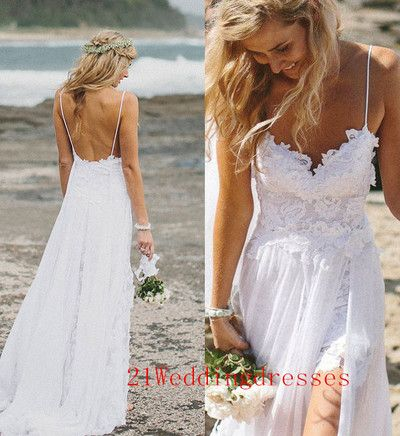 Top Selling Lace Beach Wedding Dresses Long White Wedding Dresses Backless Bridal Gowns Front Split Wedding Dresses Cheap Prom Dresses From 21weddingdresses Lace Beach Wedding Dress Long White Wedding Dress Beach Wedding Dress