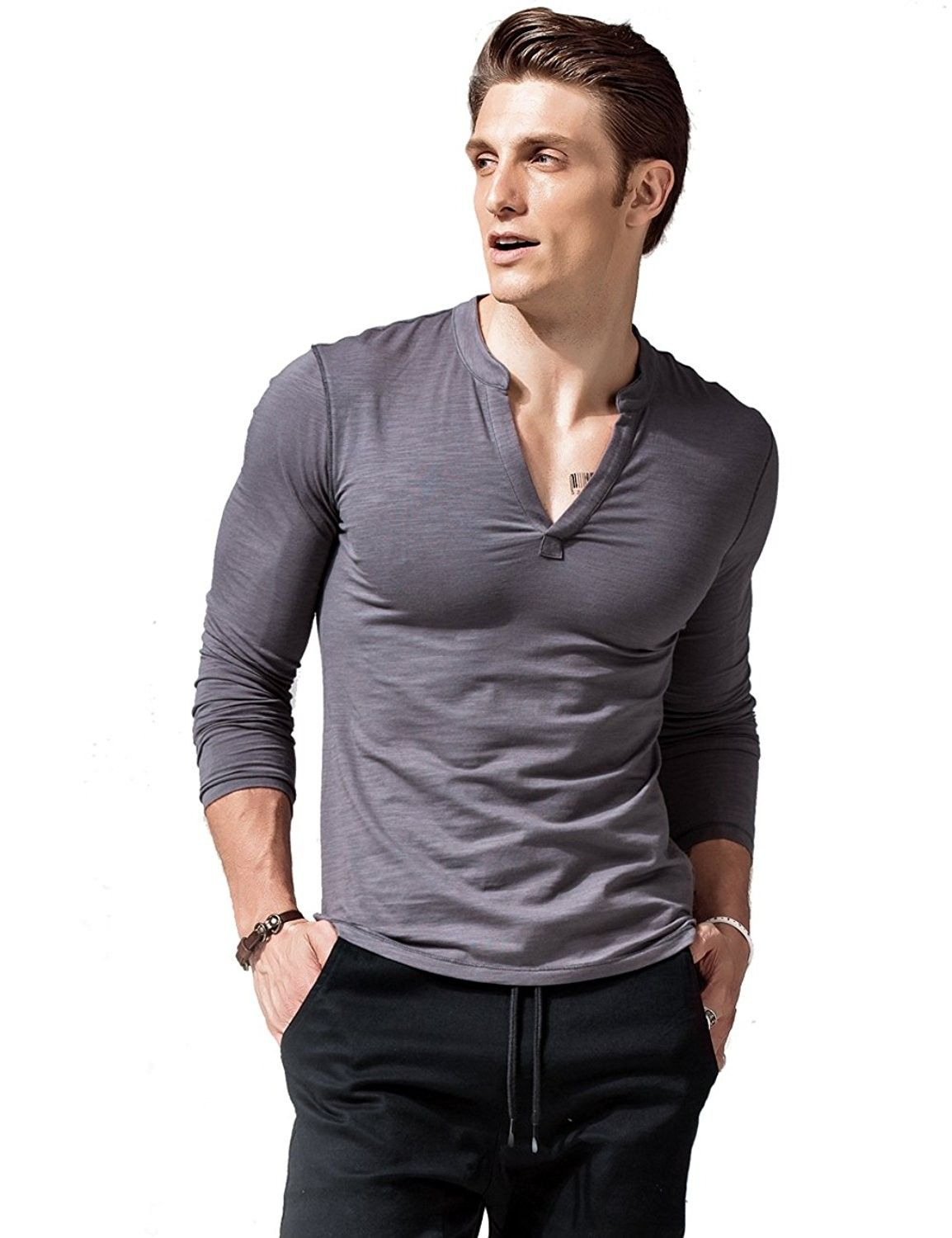 Mens Long Sleeve T Shirts Slim Fit Deep V Neck Athletic Casual Dark Grey C1187dk2ahm Men S Long Sleeve T Shirt Mens Casual Outfits Mens Outfits