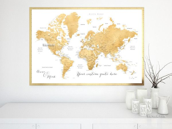 Custom Quote Faux Gold Foil Printable World Map With Cities - Us map with states labeled and capitals