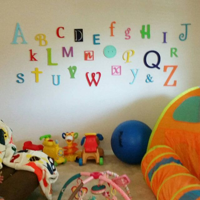 On Sale! Wooden Alphabet Letters Set, PAINTED, Wall Hanging, Nursery Decor, Alphabet Wall, ABC Wall by AlphabetBoutique123 on Etsy https://www.etsy.com/listing/243616576/on-sale-wooden-alphabet-letters-set