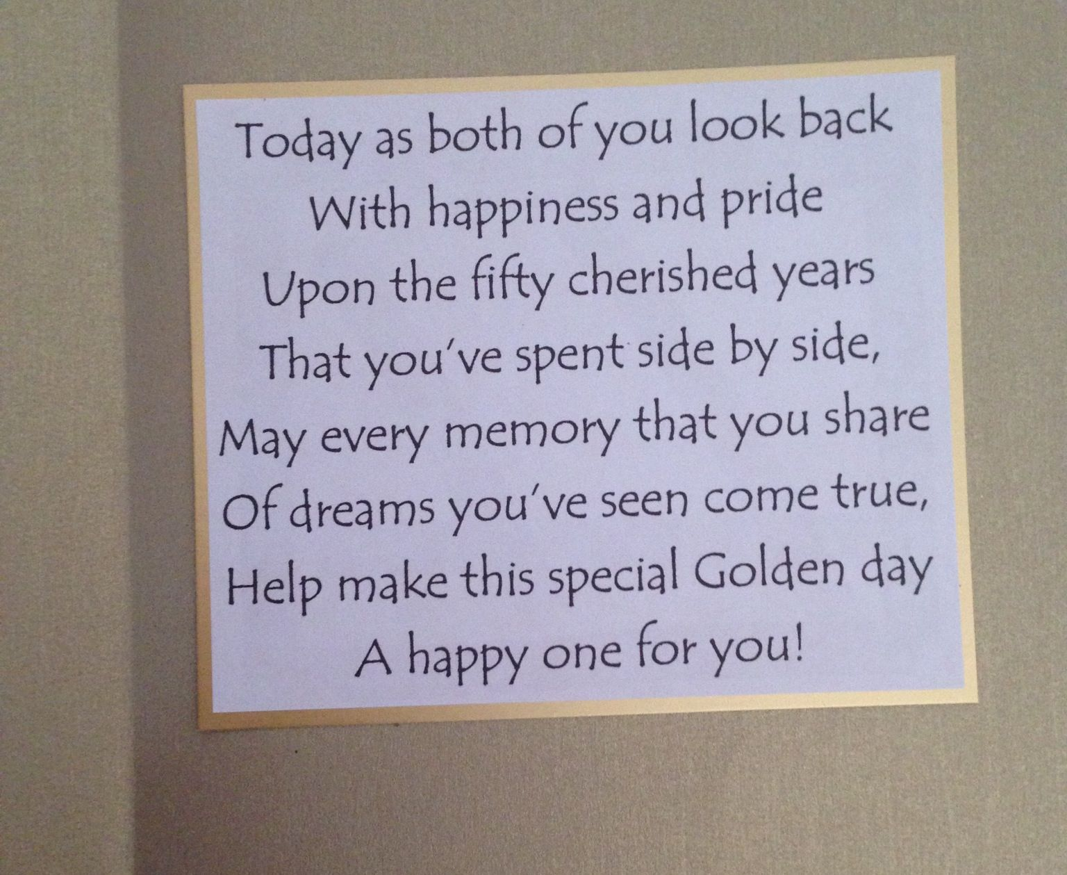 What to write in a wedding card - Golden Wedding Anniversary Card Sentiment Could Be Adapted For Diamond Ruby Or Silver Anniversary