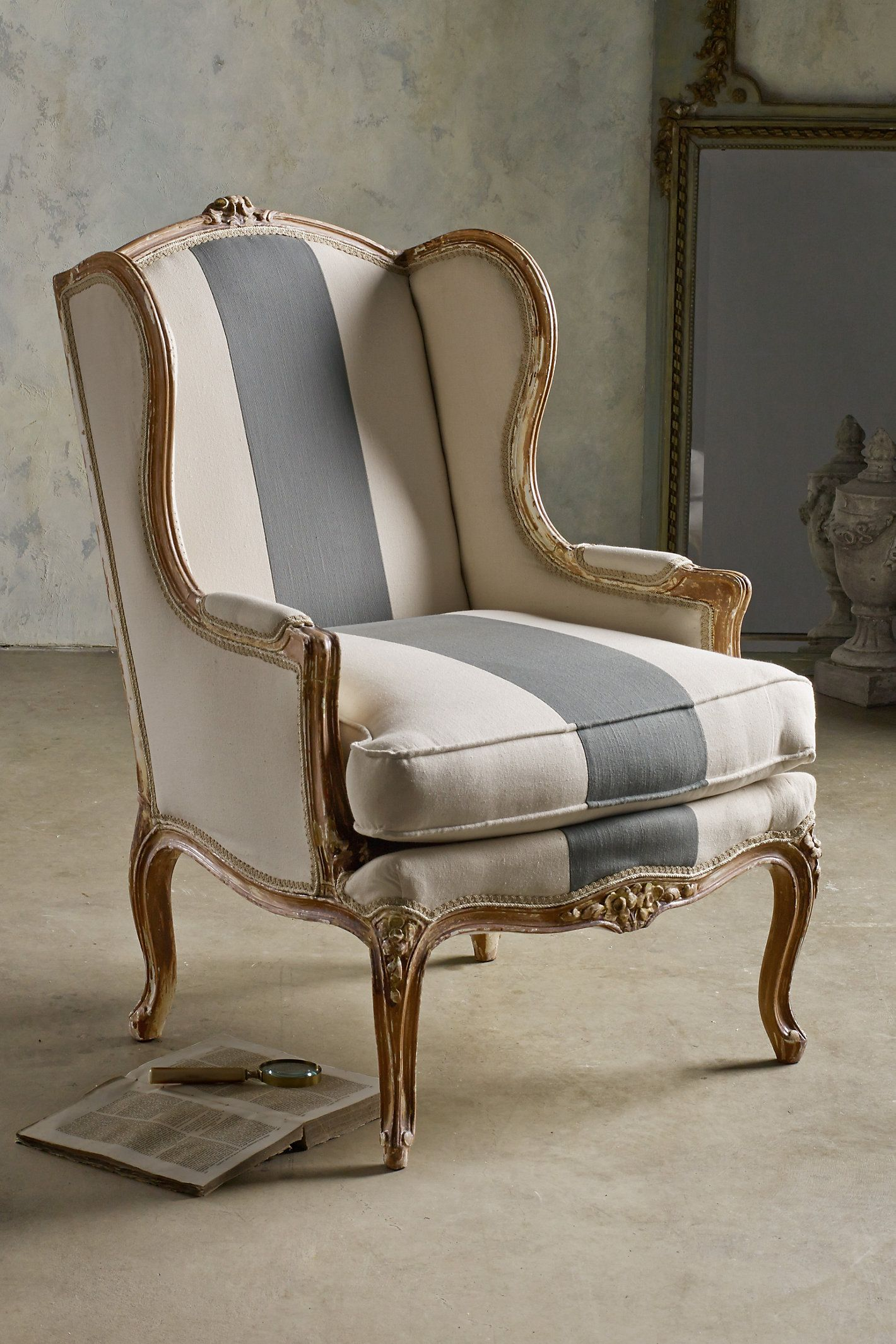 Sophie Wing Back Chair  Handcarved beech wood frame with