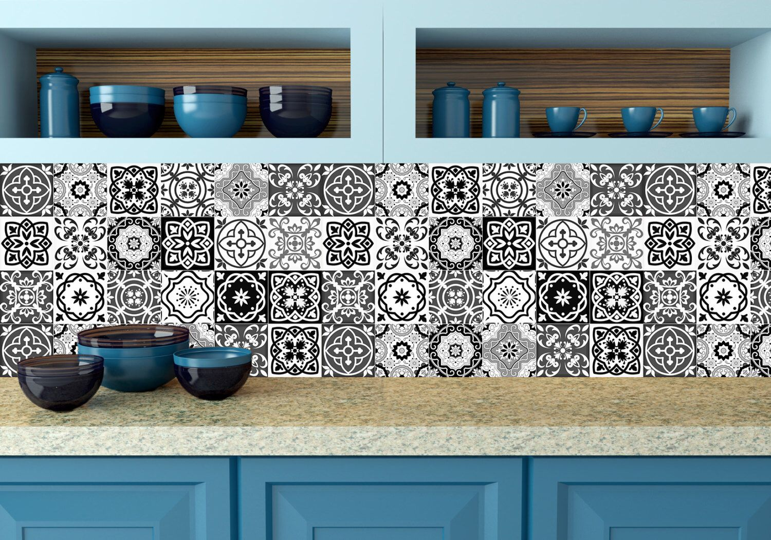 Salle De Bain Wall Decal ~ Black And White Design 24 Tile Stickers Mexican Talavera Style
