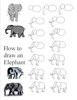 how to draw an elephant step by step for kids
