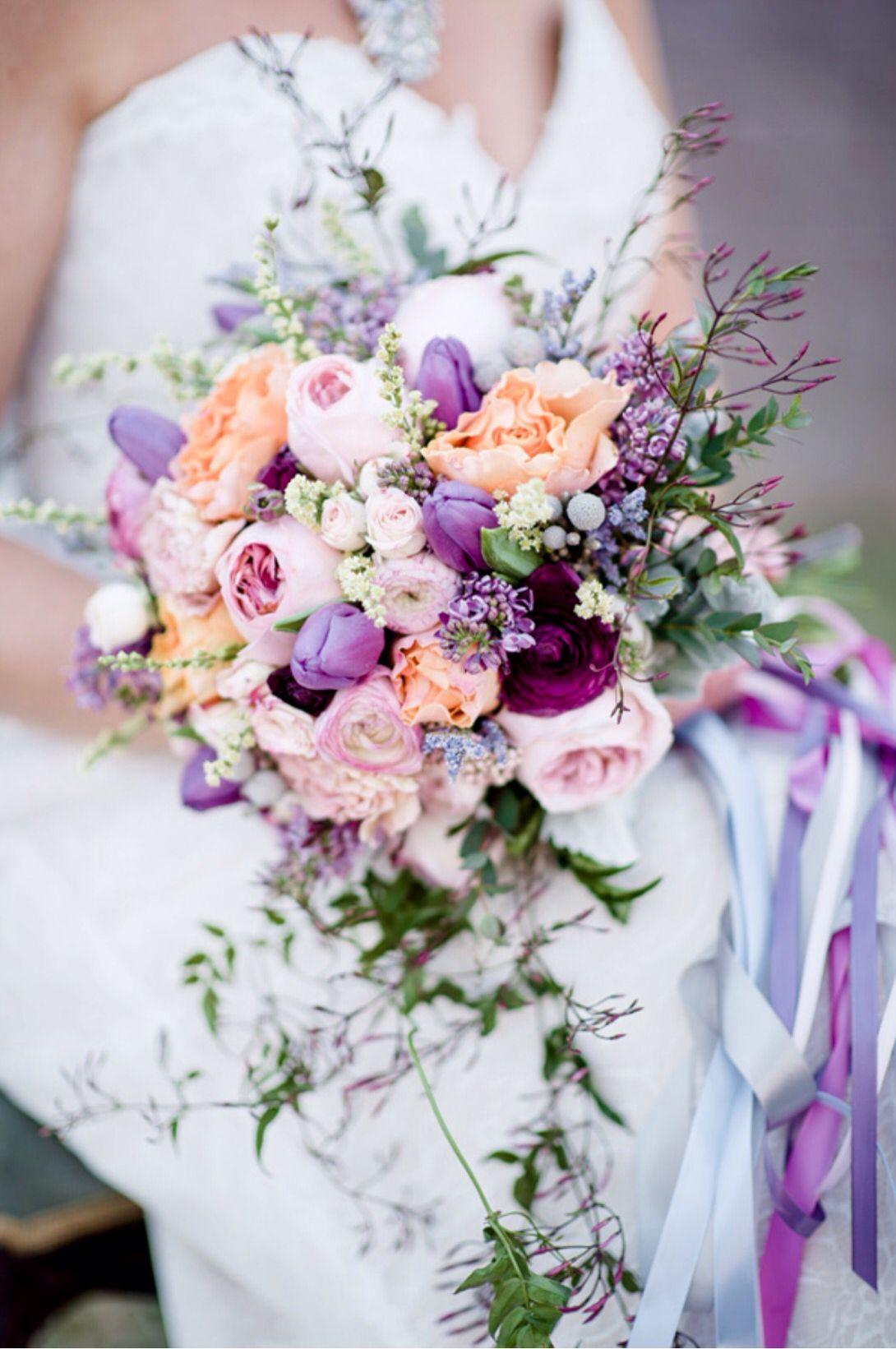 Spring Wedding Bridal Bouquet Purple Lavender Peach Tulips