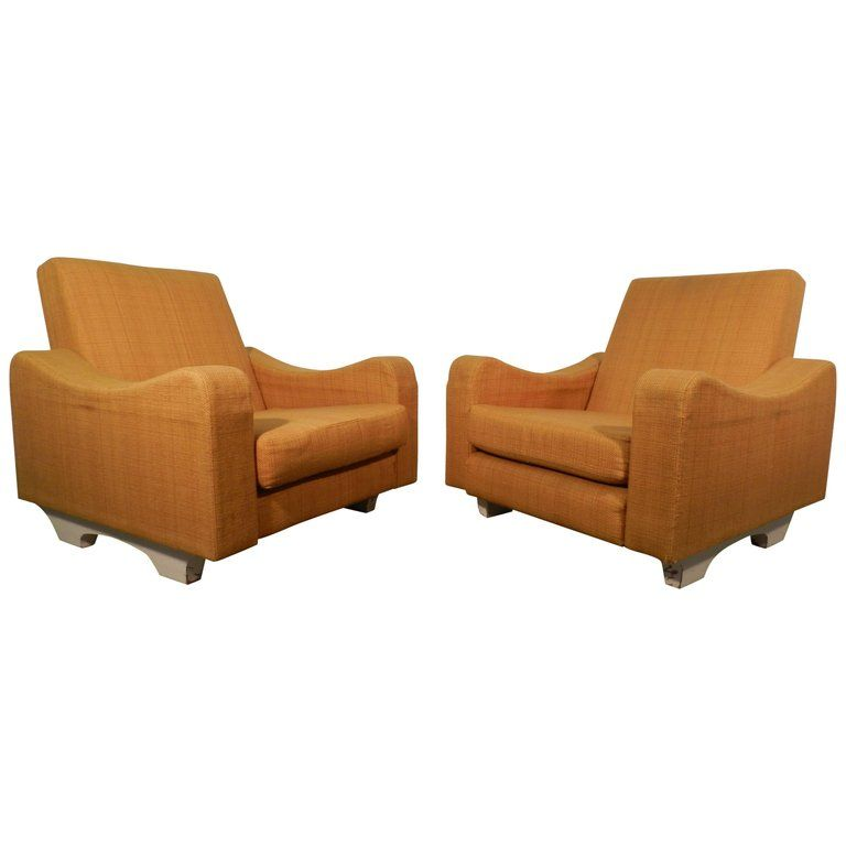 Pair of 1960s armchairs, foam and fabric on a lacquered wood structure. In the style of ARP ( Atelier de Recherche Plastique).