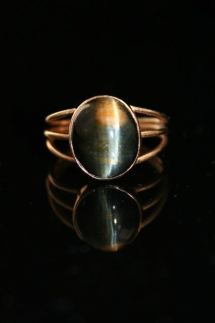 Ring Blue And Gold Tigereye In 14k Gold Fabricated From Wire And Sheet Metal By Soldering Blue Rings Jewelry Rings