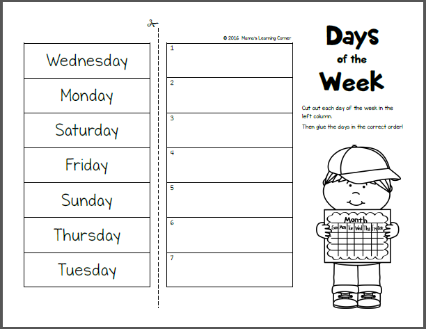 Days of the Week Worksheets Activity Shelter – Days of the Week Kindergarten Worksheets