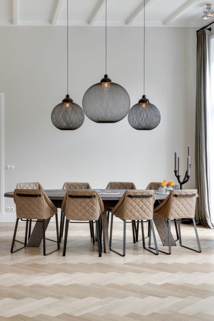 Salle a manger sol en parquet chene massif clair pas cher luminaires dining room lighting - Suspension luminaire salle a manger ...