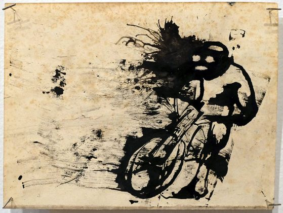 "Zero Cents Motor Cross ink on paper, 7"" x 9.5"""