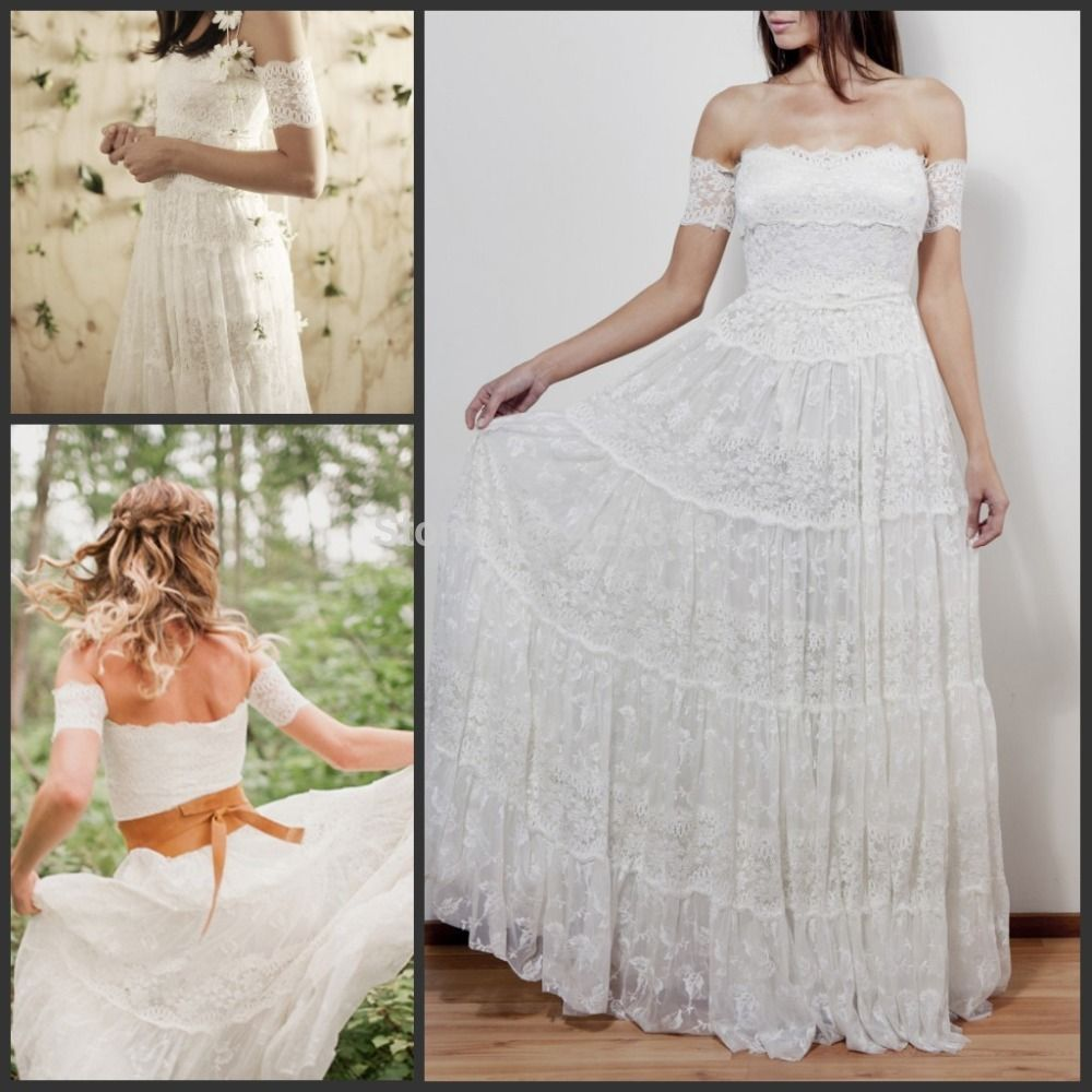 Off the shoulder beach wedding dresses   Lace Bohemian Wedding Dresses Strapless Off Shoulder Aline