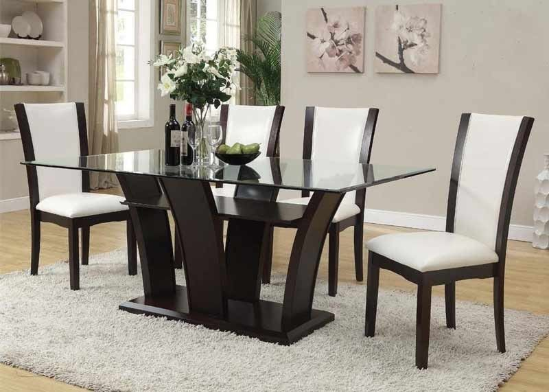 Acme Furniture Malik Rectangular Dining Table With 4 Side Chairs In Espresso 705 Contemporary Dining Room Furniture Dining Room Sets Glass Dining Room Sets