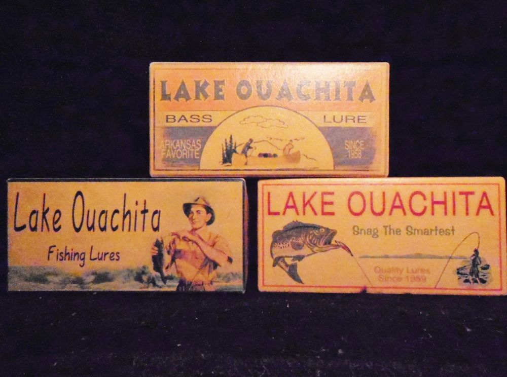 Three Lake Ouachita Arkansas Cabin / Lake House Fishing Lure Boxes Decor  Gifts
