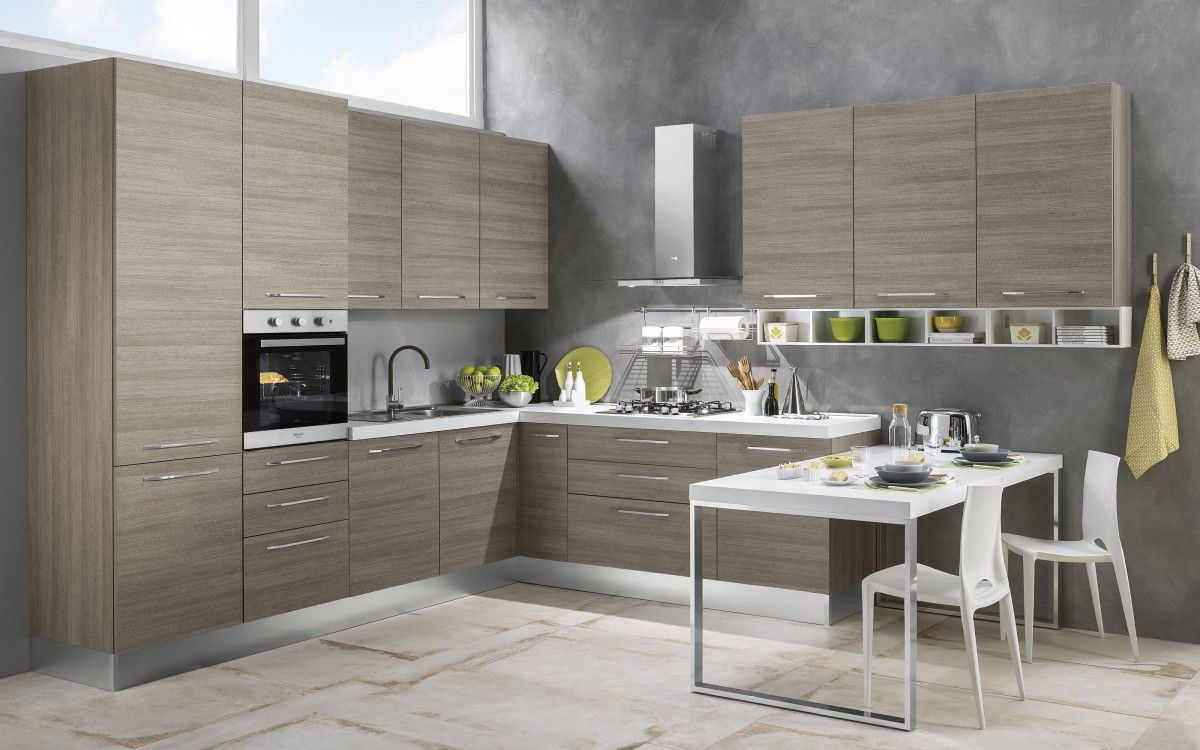 Cucina componibile effetto pino chiaro - Stella Classica | Cucina ...