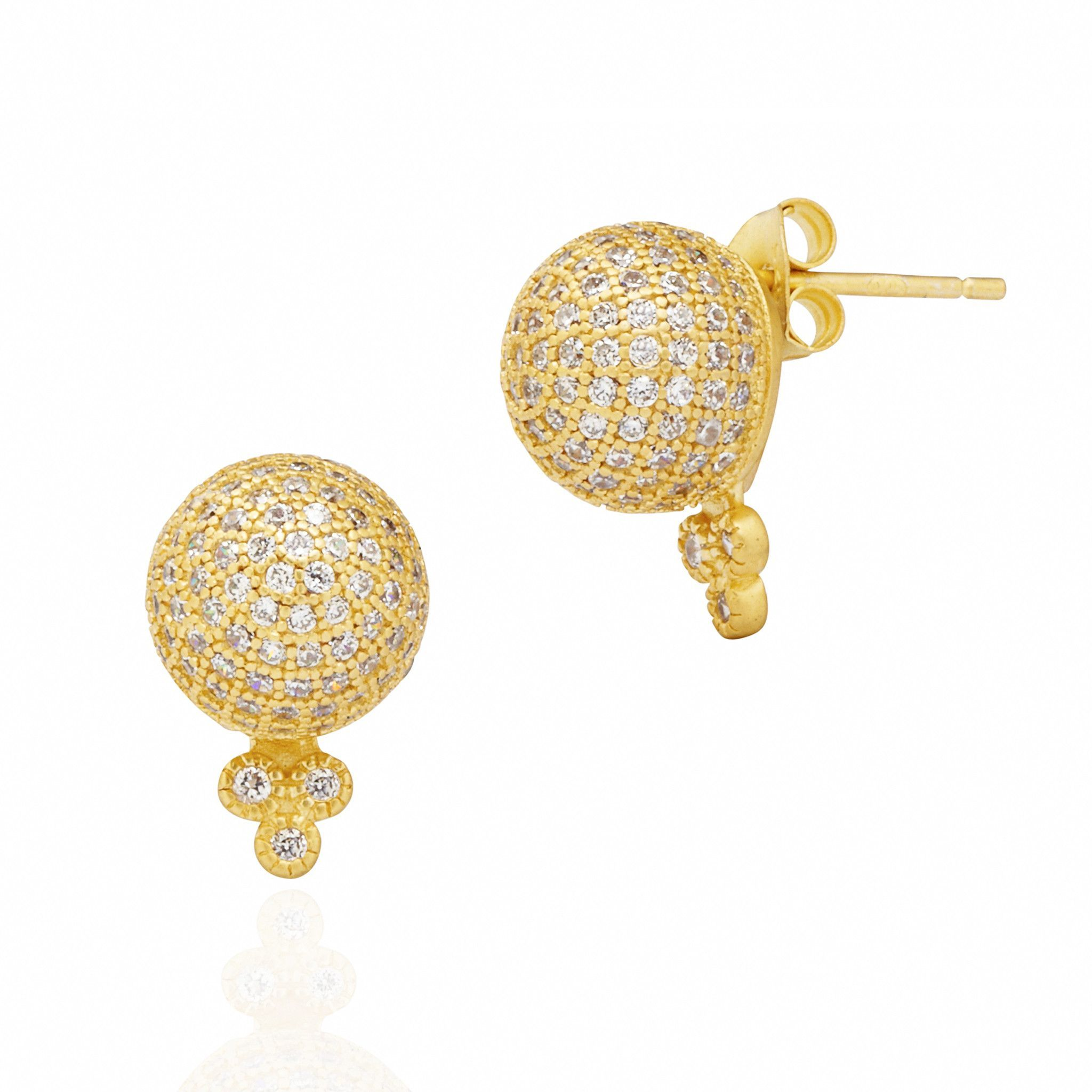 Pave Ball Stud Earring
