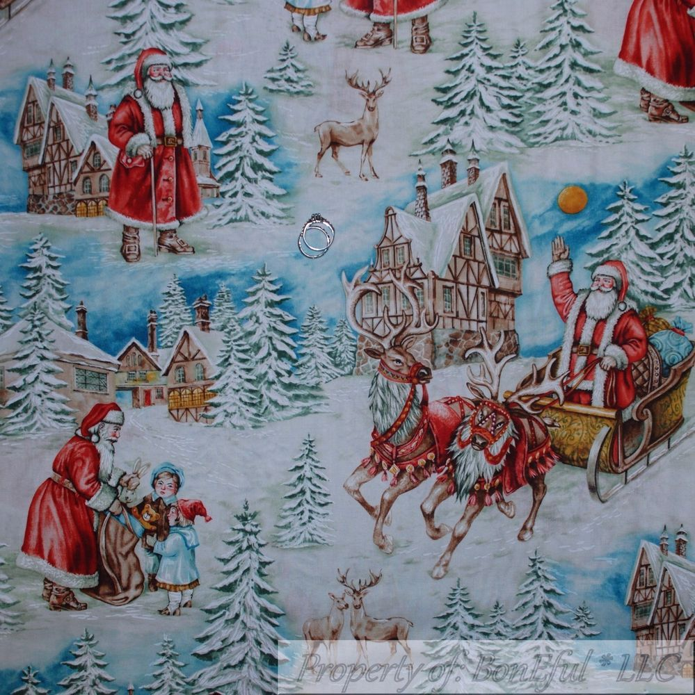 BonEful Fabric FQ Cotton Quilt White Snowflake Scenic Winter Country Xmas House