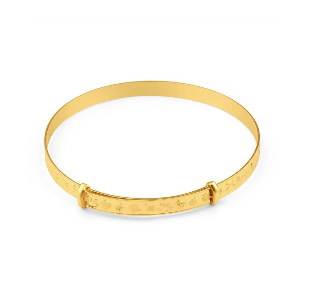 Baby Bangles 9k Gold Expanding Nursery Bangles For Newborns With Gift Box Baby Bangles Gold Baby Bangles Baby Bracelet