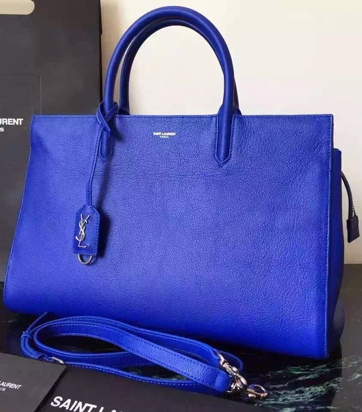 1b99da4ede Saint Laurent Medium Cabas RIVE GAUCHE Bag in Royal Blue Grained Leather  sale at USD 422. Free Shipping by courier to your address. View More on ...