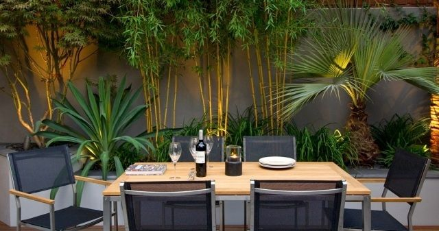 Bambus Garten Ideen Deko Sichtschutz Bodenleuchten Essbereich ... Garten Sichtschutz Deko Ideen 18
