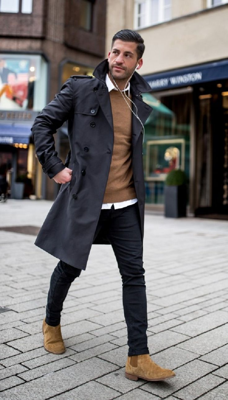 Black and brown outfit ideas for men | Winter outfits men