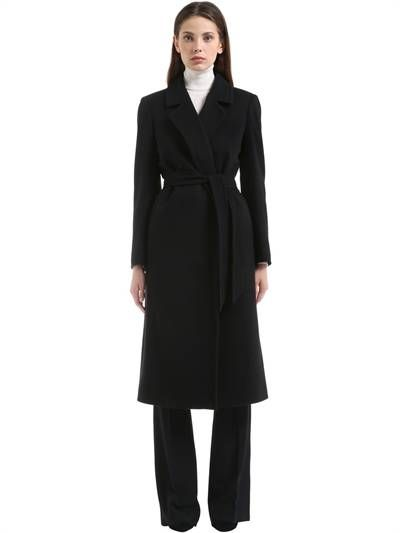 TAGLIATORE 0205 - VIRGIN WOOL BLEND COAT - COATS - BLACK - Luisaviaroma - Notched lapels . No closure . Includes matching belt. Two side pockets. Center back vent. Sample size: 40