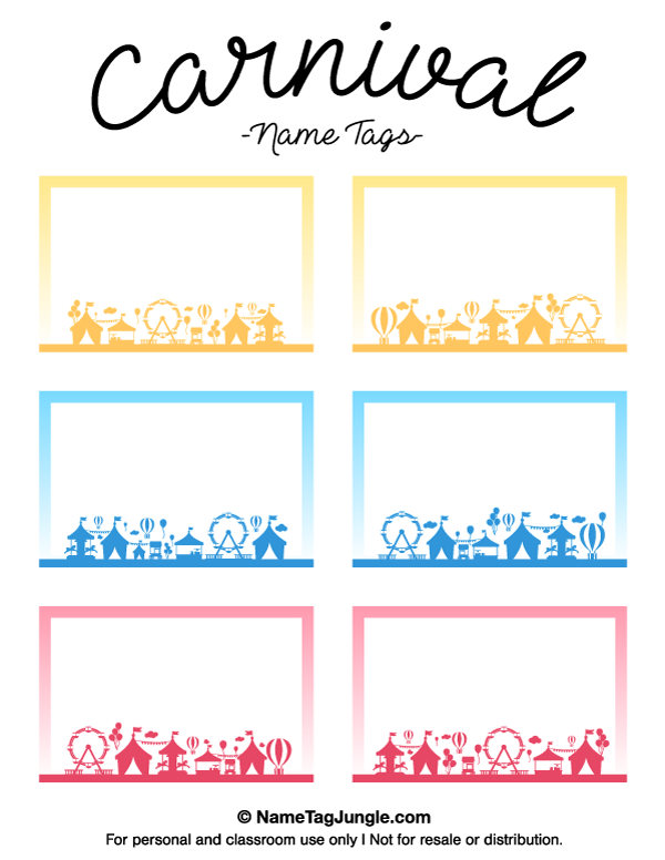 Name Tag Template Free Printable Free Printable Carnival Name Tags. The  Template Can Also Be Used .  Name Labels Templates Free