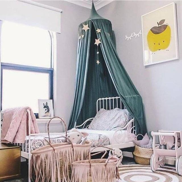 Blau Betthimmel Baumwolle Kids Moskitonetz Baby Baldachin Betthimmel f/ür Kinder Schlafzimmer Dekoration