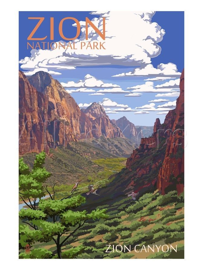 Zion National Park - Zion Canyon View Prints by Lantern Press at AllPosters.com