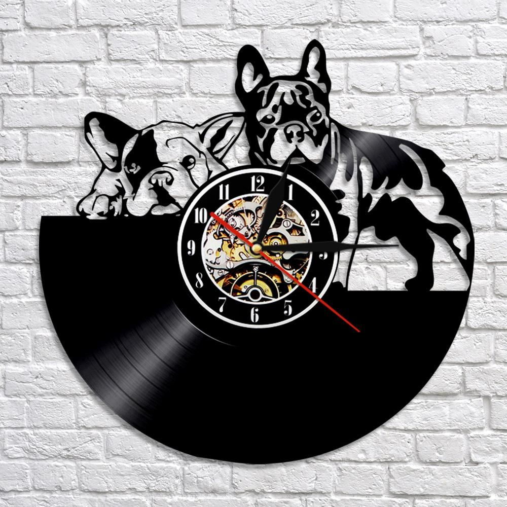 French Bulldog Vinyl Record Wall Clock Vinyl Record Clock Retro Wall Clock Wall Clock Modern