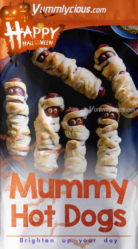Halloween Mummy Hot Dogs Recipe   Yummlycious