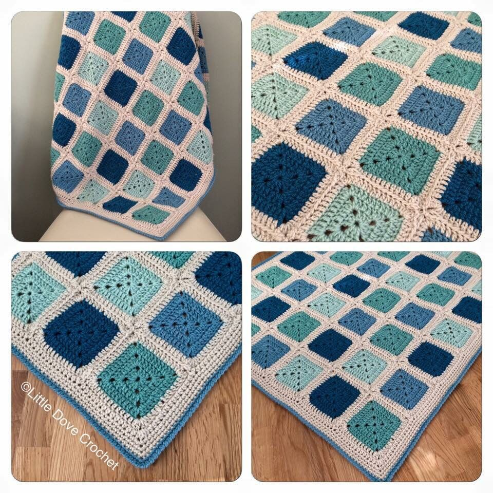 Solid Granny Square Blanket Crochets Pinte