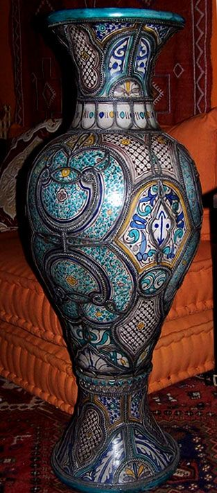 Antique Moroccan Vase Hand Painted Pottery And Metal