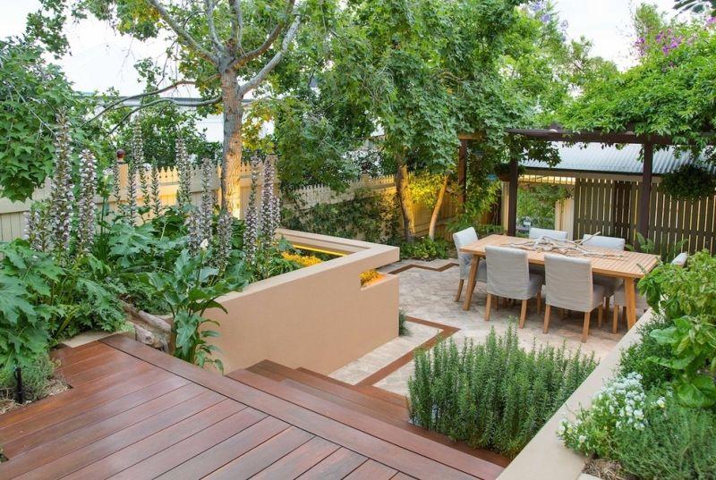 Kleingarten Anlegen Terrasse Mit Essplatz Gestalten