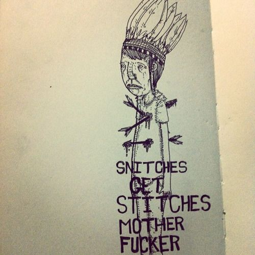 Snitches get stitches. #streetart #illustration #angry