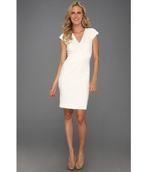 Rebecca Taylor Asymmetrical V Dress Cream - 6pm.com