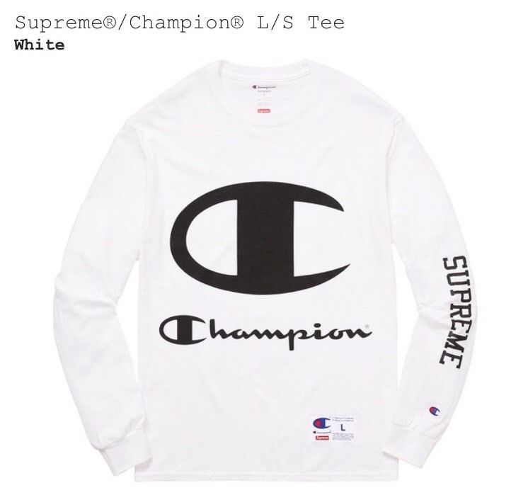 32af2e534887 SUPREME x CHAMPION L S TEE Logo SS17 Medium White Brand New Sold Out
