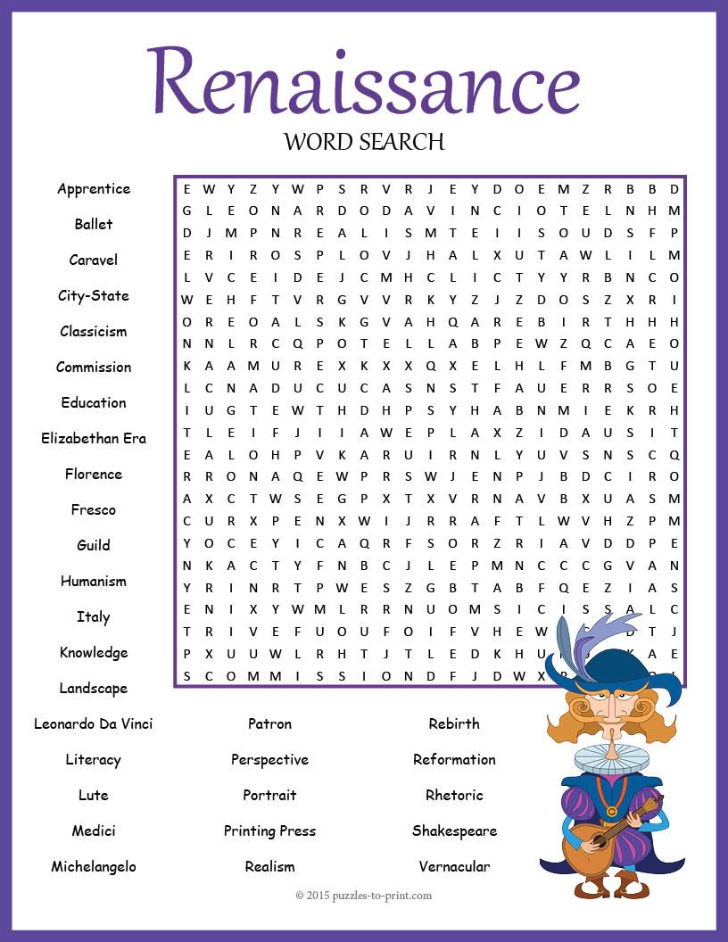 Worksheets Renaissance Worksheets renaissance word search puzzle vocabulary words and a fun to use when studying unit on the there are
