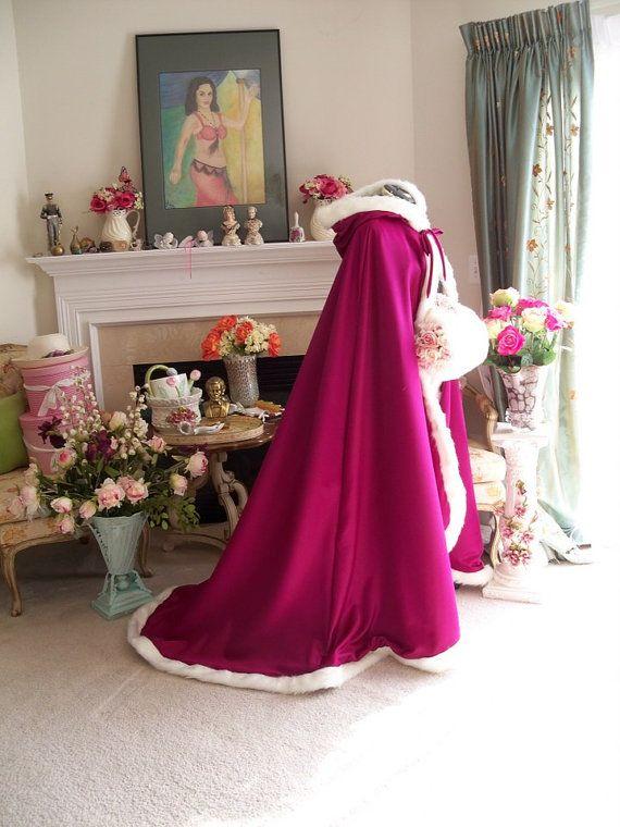 Frozen Princess Anna Bridal cape 65 inch Raspberry / Platinum Satin wedding cloak Handmade in USA