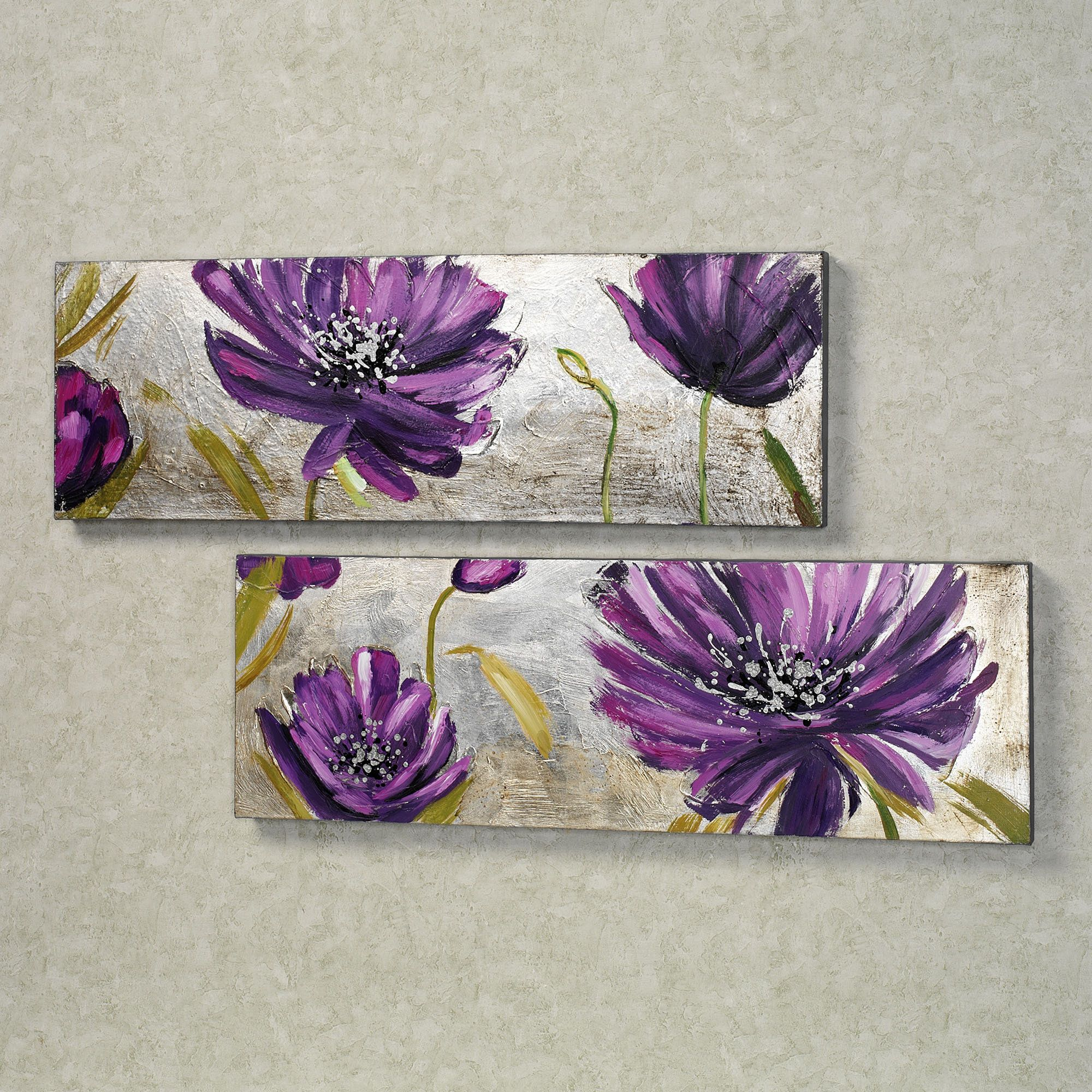 Purple Allure Floral Canvas Wall Art Set Floral Wall Art