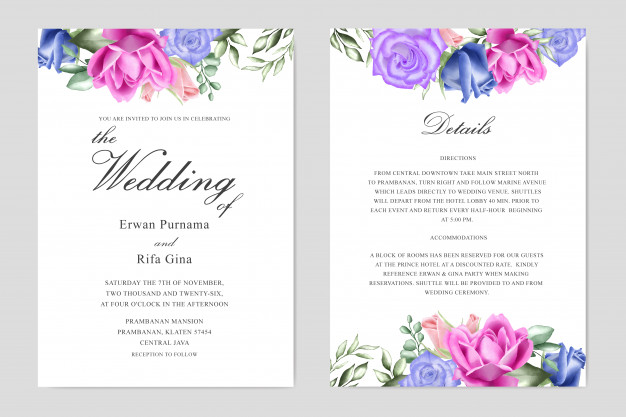 Watercolor Floral Wedding Invitation Template Card Design Wedding Invitation Templates Watercolor Floral Wedding Invitations Floral Wedding Invitations