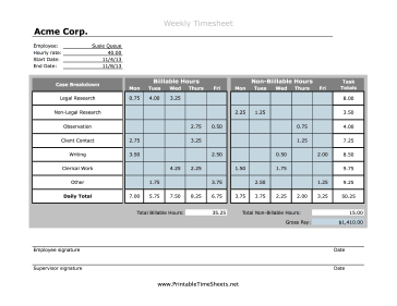 Attorney Timesheet Printable Time Sheets Free To Download And