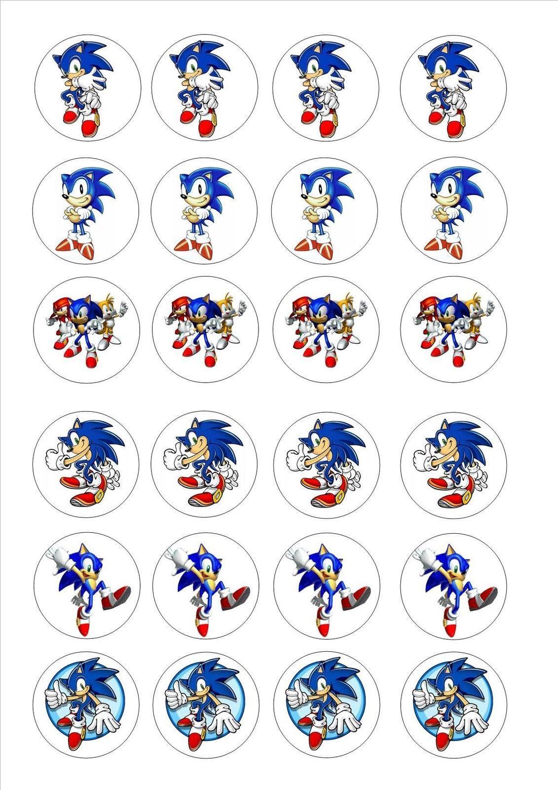 24 Icing Cake Toppers Decorations Birthday Sonic The Hedgehog Festas De Aniversario Do Sonic Aniversario Do Sonic Aniversario Do Vasco