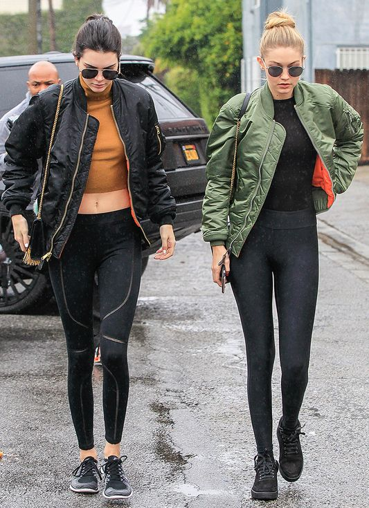 cdb9af2bb6d Kendall Jenner and Gigi Hadid Are BFFs: Best Faceoff Friends | People - bomber  jackets
