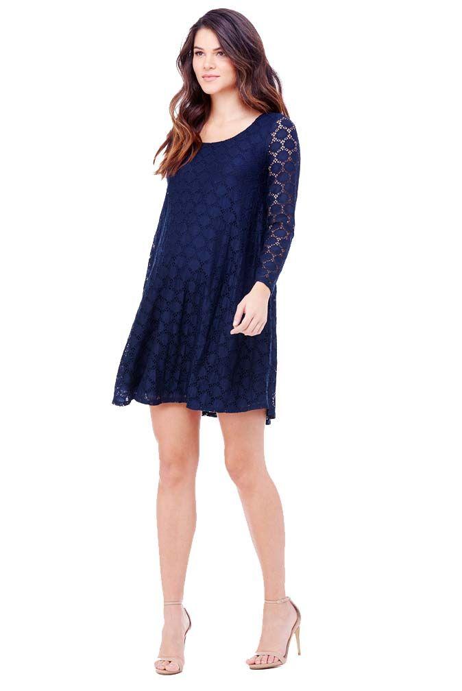 df58ee47da04d Ingrid & Isabel Long Sleeve Dot Lace Maternity Swing Dress | fashion ...