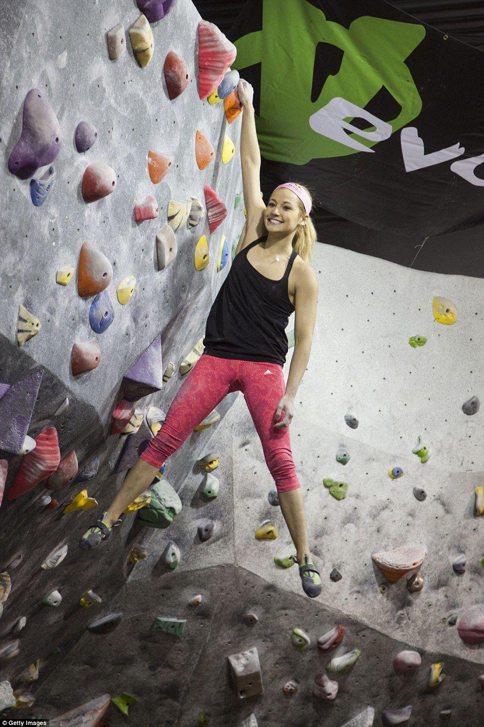 Indoor Rock Climbing Woman